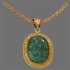 Carved Emerald Gold Pendant | 21K Yellow Gold Flower | Vintage Estate
