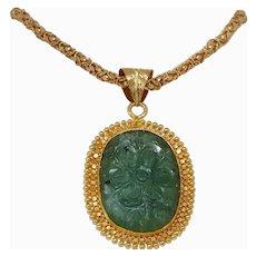 Carved Emerald Gold Pendant   21K Yellow Gold Flower   Vintage Estate