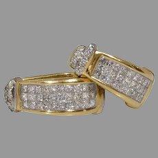 Diamond Gold Hoop Earrings | 14K Yellow White | Vintage Princess Cut
