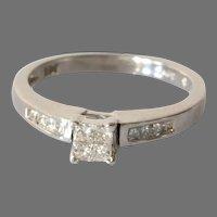 Vintage Diamond Engagement Ring | 14K White Gold | Princess Cut Israel