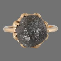 Uncut Fancy Gray Diamond Ring   10K Yellow Gold   Rough Raw Solitaire