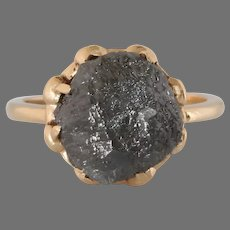 Uncut Fancy Gray Diamond Ring | 10K Yellow Gold | Rough Raw Solitaire