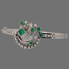 Art Deco Emerald Diamond Bracelet | Platinum Hinged Bangle | Retro