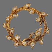 Victorian Diamond Gold Branch Brooch | 18K Yellow Leaf Pin | Antique