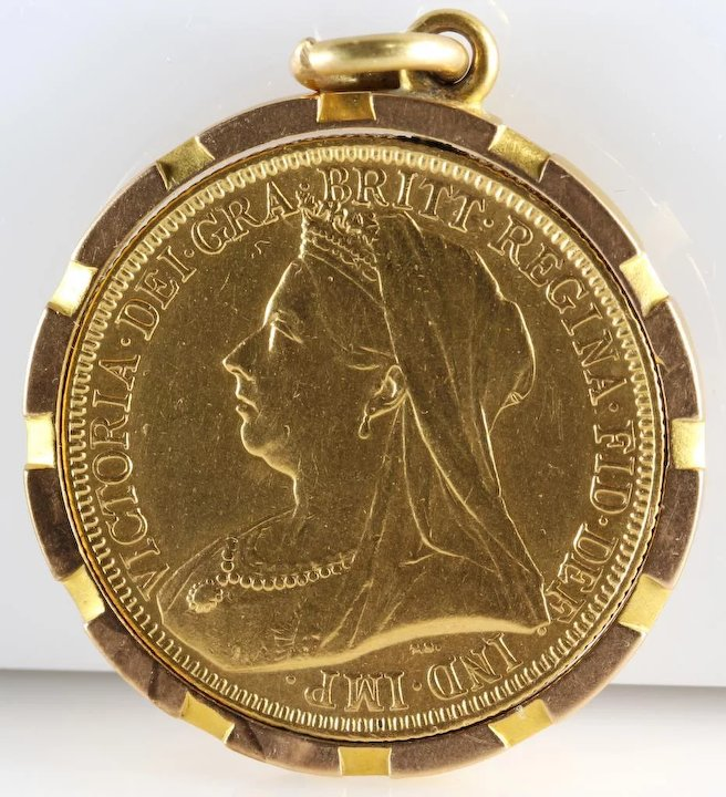 Double sovereign coin pendant 1893 veiled head 22k gold two double sovereign coin pendant 1893 veiled head 22k gold two pound aloadofball Image collections