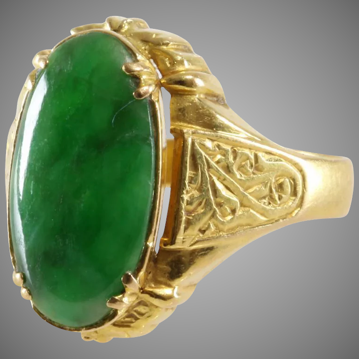 319fdb30a0c7c Antique Jade Ring | 20K Yellow Gold | Oval Cabochon Jadeite Qing China
