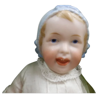 Antique German Bisque Bonnet Head Baby By Recknagel