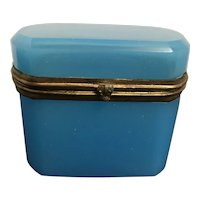 Antique French Blue Opaline Box with Casket Hinge