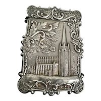 Dated 1849 silver cathedral card case