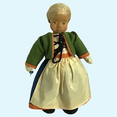 1930's carved wooden doll by Anna Fehrle, great outfit!