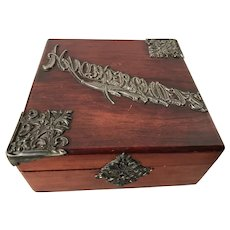 19th C. handkerchief box, ornate silver plate lettering, fantastic!