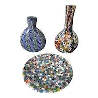 Three pieces vintage millifiore glass