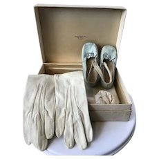 1902 baby baptism slipppers and gloves in old Bonwit Teller box