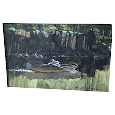 Vintage watercolor painting, rowing boat, artist signed