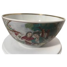 Mottahedeh pottery bowl, Asian decor, large