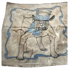 "Antique ""Handsome Dan"" Yale football banner circa 1920's/1930's, hand knitted"