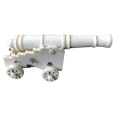 Miniature vintage American bone cannon, finely hand crafted