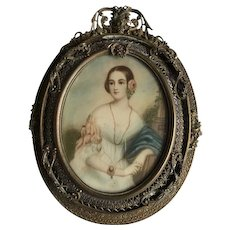 Late 19th C. Miniature painting of beautiful woman, ornate frame