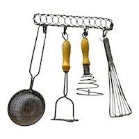 Miniature vintage kitchen utensils for doll house