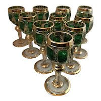 MOSER/Czech overlay cut and heavily gilt cordial glasses, set of ten, FREE shipping!