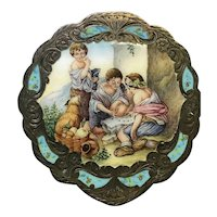 800 silver finely enameled compact, the cream of the crop! FREE shipping!