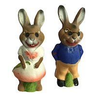 Mr & Mrs Rabbit, 1940's collectible figures/candy containers