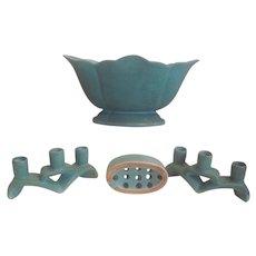 Antique Weller Pottery Console Set