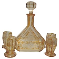 Topaz Cut to Clear Decanter Set