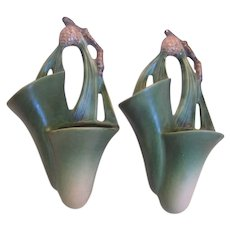 Roseville Pottery Pair Wall Pockets