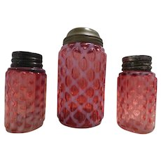 Cranberry Diamond Optic Sugar Shaker and Salt & Pepper