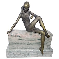 Art Deco  Style Figure on Marble