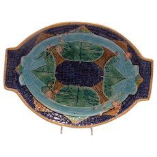 Majolica Bow & Floral Tray