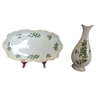 Christmas vase and tray by Lenox