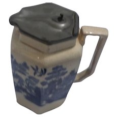 Pitcher with Pewter Lid, Blue Willow