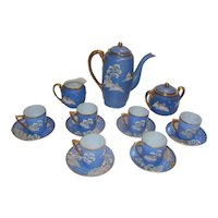 Japanese Hand-Painted Blue Coffee Set