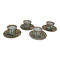 Rose Medallion Demitasse Cups and Saucers