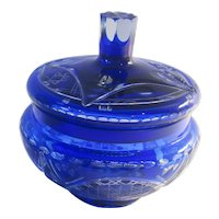 Cobalt Blue Cut to Clear Crystal Candy Jar W Lid