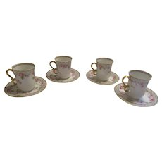 Jean Pouyat Limoges 4 Chocolate Cups/Saucers