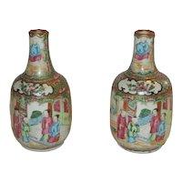 Rose Medallion Pair of Bottle Form Vases