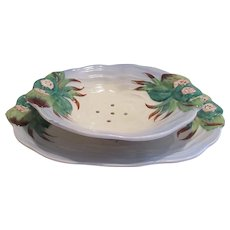 Clarice Cliff Berry Strainer Bowl and Plate