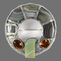 Large Victorian Scottish Silver Buckle Brooch with Cairngorm and Banded Agate