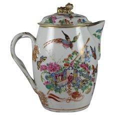 Circa 1820 Chinese Export Famille Rose Porcelain Cider Jug w Original Lid