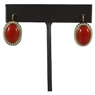 Antique Victorian 14K Gold Red Coral & Seed Pearl Earrings