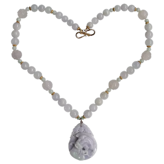 Vintage 20th Century Chinese Lavender & Green Jadeite Qilin with Lingzhi Pendant Necklace