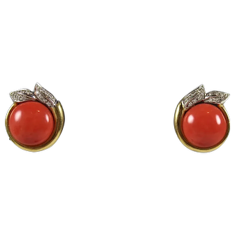 Vintage 20th Century 18K Gold Salmon Red Coral & Diamond Earrings