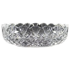 "Large Waterford Cut Crystal Center Bowl ""Emily Scalloped"" Glass"
