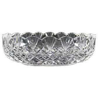 """Large Waterford Cut Crystal Center Bowl """"Emily Scalloped"""" Glass"""