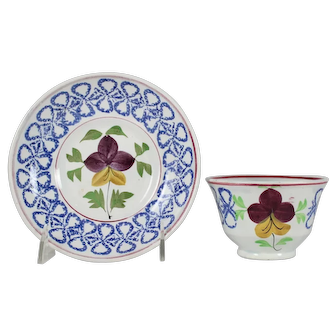 19C Spatterware Cup & Saucer Pansy Pattern Stick Spatter Blue Bow Border