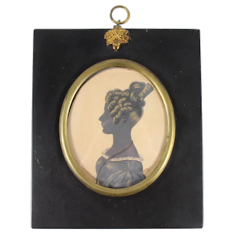 Georgian Silhouette of Miss Ann Thorold by William Hamlet Silhouette c 1800