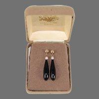 Maui Divers Hawaiian Black Coral, 14K Gold & Pearl Dangle Earrings in Original Box